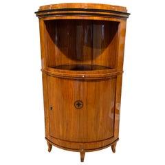 Biedermeier Corner Cabinet, Cherry Veneer, Ebony Inlay, South Germany circa 1820