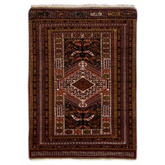 Antique Persian Afshar Handmade All-Over Designed Multicolor Scatter Wool Rug