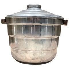 Borkville Airstreamer Aluminum Ice Bucket Sculptural Walnut Wood Handles 1960s