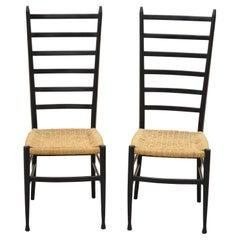 Italian Gio Ponti Style Ebonized Black Tall Ladder Back Rope Seat Chair, a Pair