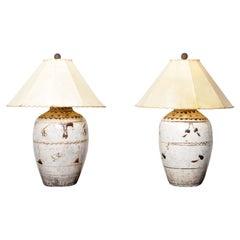 Pair of Cizhou Liqour Jar Lamps