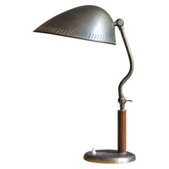Carl-Axel Acking 'Attributed', Adjustable Table Lamp, Brass Elm, 1940s