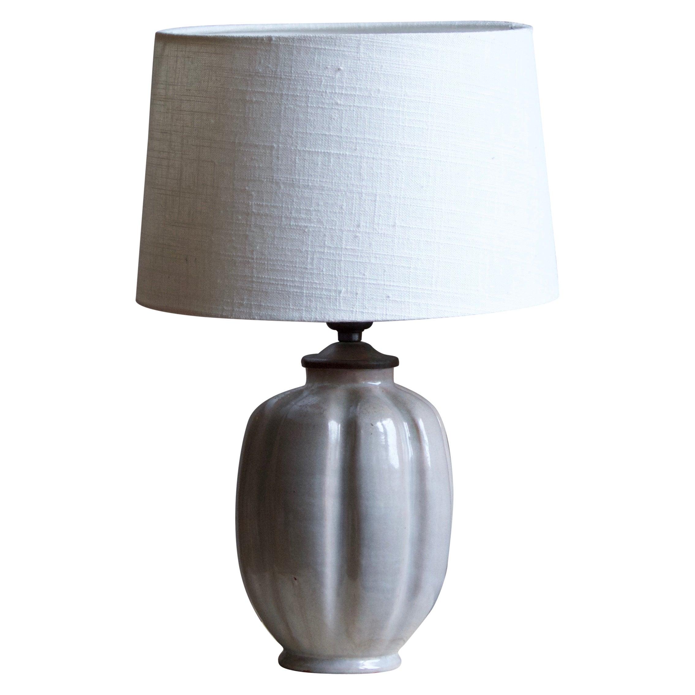 Nittsjö, Fluted Table Lamp, Grey Glazed Ceramic, Brass, Sweden, 1940s