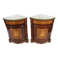 Pair of Marble Topped Inlaid French Corner Cabinets