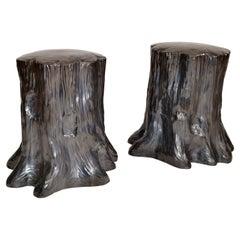 Hollywood Regency Style Outdoor Silver Ceramic Side Table Tree Stump Look, Pair
