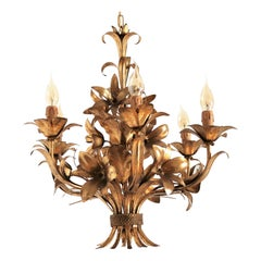 Midcentury Six-Arm Chandelier with Gilded Leaves and Lilies by Hans Kogl, 1970s