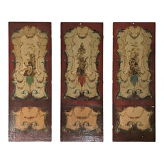 Set of 3 19th Century English Oil on Leather Painting