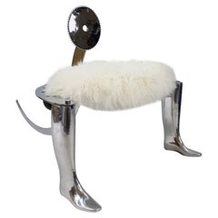 Designer Chromed Antique Shoemakers Chair