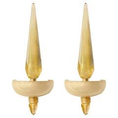 Pair of Italian Gold Murano Glass Obelisk Sconces