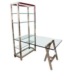 Mid-Century Modern Directional Aluminum Etagere w Glass Shelves & Desk, 1980s