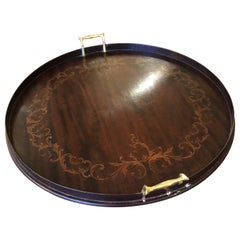 Handsome Round Vintage Mahogany Inlay Tray with Brass Handles