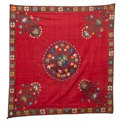 Antique Red Suzani from Tashkent, Uzbekistan
