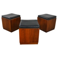MCM 3 Walnut Cube Stools Black Upholstered Tops Jack Cartwright for Founders