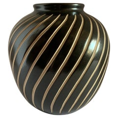 Dark Brown and Cream Decorative Design Vase, East Germany, Mid Century