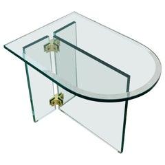 Mid-Century Modern Leon Rosen Pace Side End Tables Brass & Glass Panels, 1970s