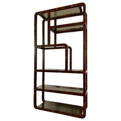 Tessellated Coconut Shell Wrapped Etagere, 1980's