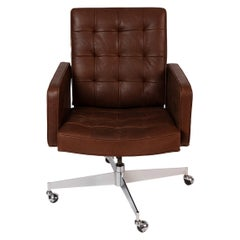 Florence Knoll for Knoll Chocolate Leather Office Chair