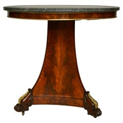 French Empire Mahogany Gueridon or Center Table  with a Bleu Turquin Marble Top