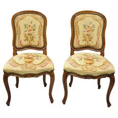 Antique French Provincial Louis XV Walnut Floral Needlepoint Side Chair, a Pair