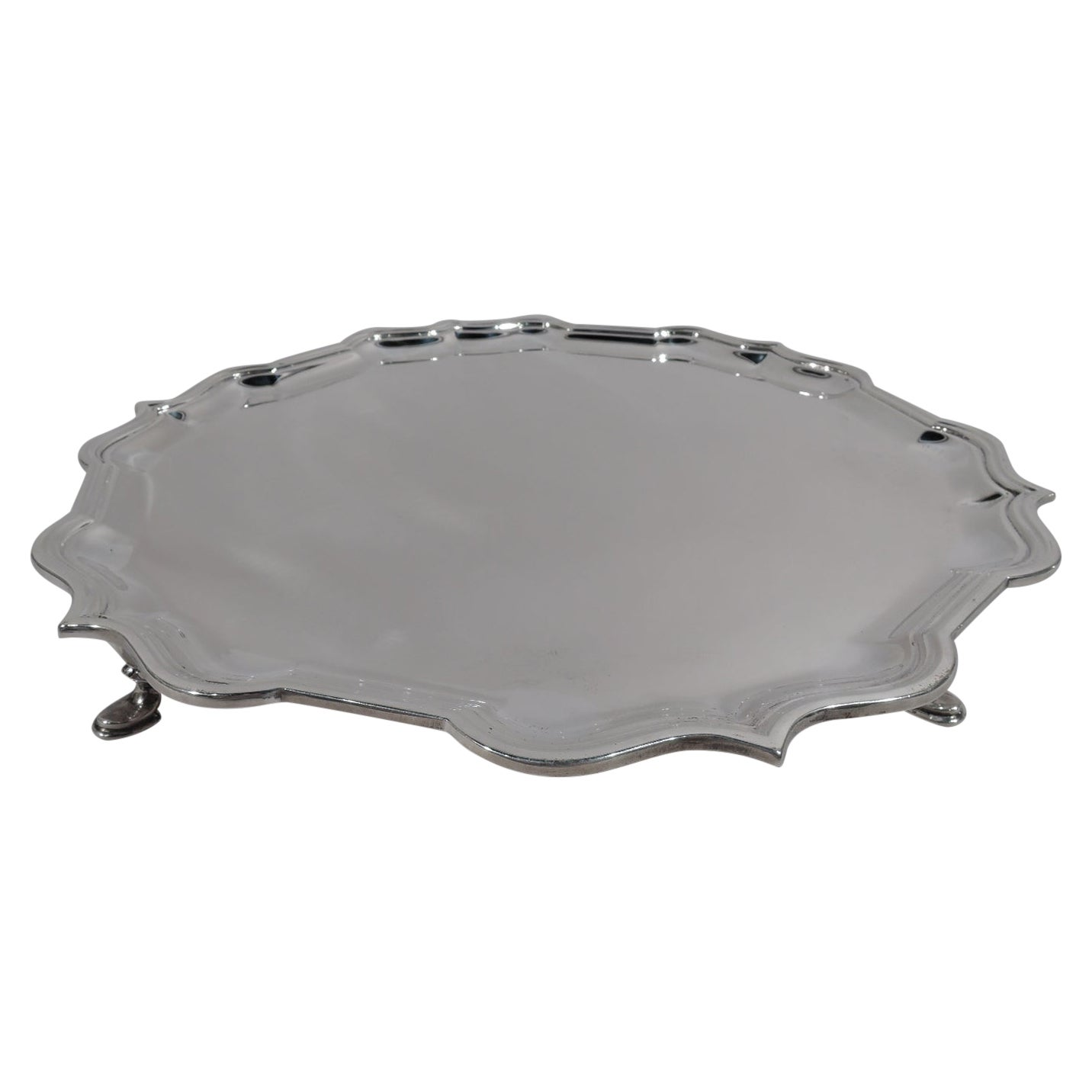James Robinson English Sterling Silver Georgian Piecrust Salver Tray