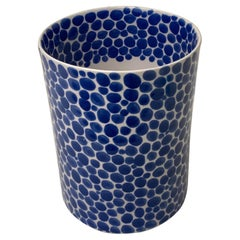 Tall Blue Dots Porcelain Vase