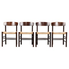 "Børge Mogensen Set of 4 J 39 Chairs ""Folkestolen"" by F.D.B. Møbler, Denmark 1970"