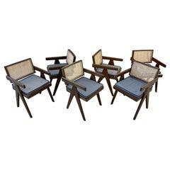 Six Mid Century Modern Pierre Jeanneret Floating Back Chairs, Teak, Cane, 1950s