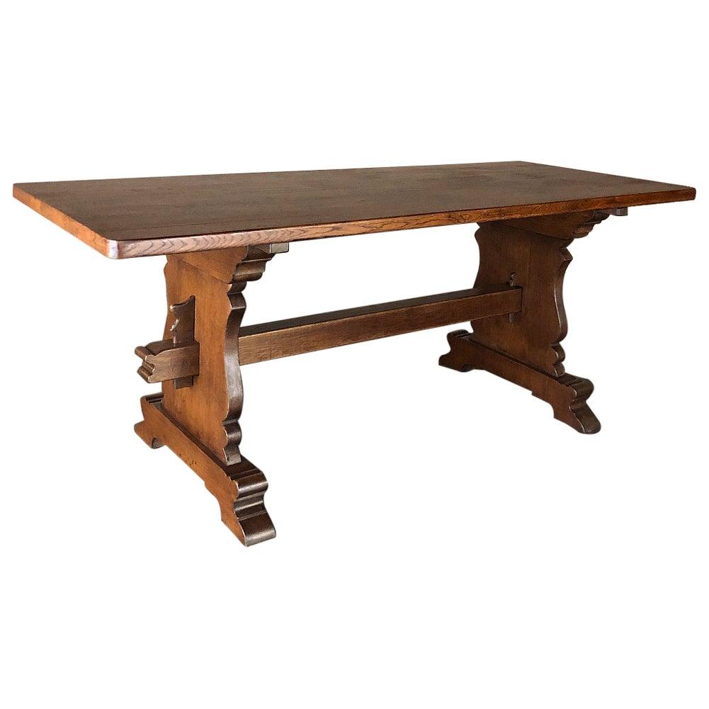 Rustic Dutch Solid Oak Trestle Dining Table