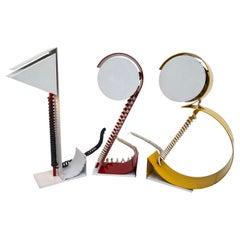1 2 3 Table Lamps Post Modern Geometric French Pop Art 1980's