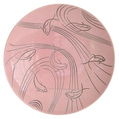 Roselane Pottery of Pasadena Pink Salad Bowl with Incised Modernist Fish Design