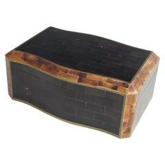 Tessalated Maitland Smith Faux Horn Gentleman's Dresser Box