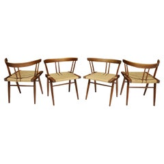 Set of Four Walnut Grass Seat Dining Chairs by George Nakashima, US, 1961