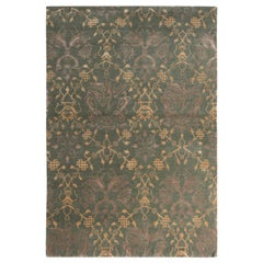 Rug & Kilim's Traditional European Style Rug Green and Gold Pictorial Pattern