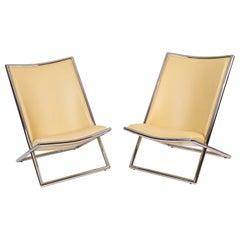 Ward Bennett Leather Scissor Chairs