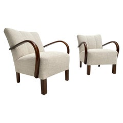 Pair of Dutch 1950's Hawema Lounge Chairs Restored with New Upholstery