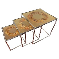 Rare Mid-Century Modern, French Set of Chrome & Resin Inlaid Tables by Accolay