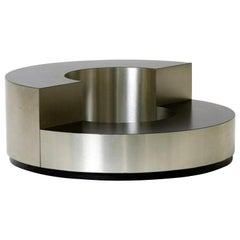 Coffee Table Design Willy Rizzo, Italy 1970, Brushed Steel Mid-Century Black