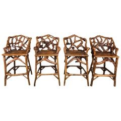 Mid-Century Organic Modern Wood Bar Stools, Set of 4