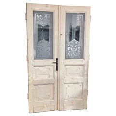Pair of Etched Glass Doors, circa 1900