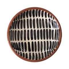 Handmade Ceramic Black and White Dash Pattern Mini Bowl, in Stock