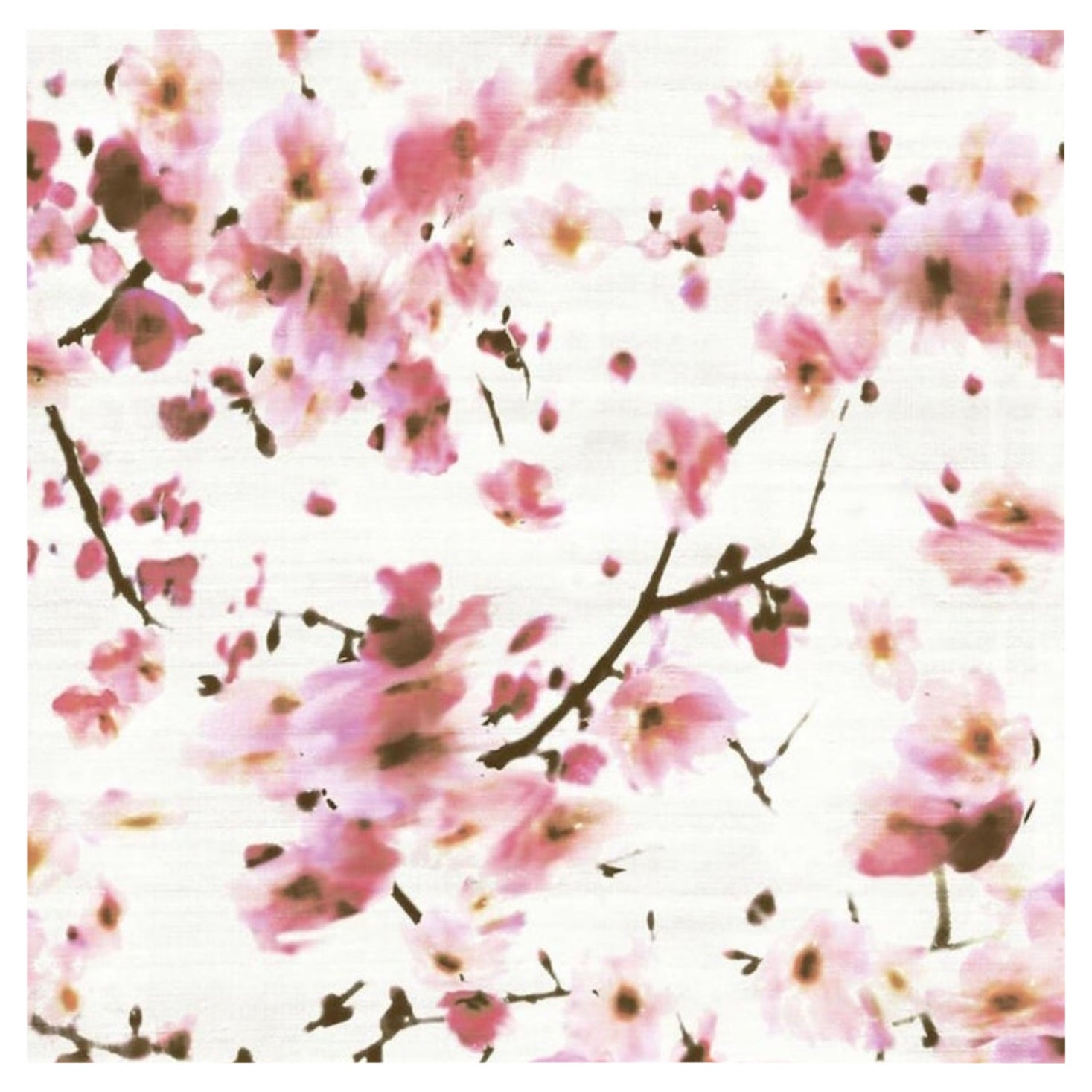 French Wallpaper by Elitis 'Kandy' Sakura Cherry Blossom Floral Watercolor Silk