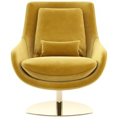 Contemporary Armchair, Yellow Velvet/Polished Gold