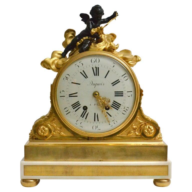 Escalier de Cristal Gilt Bronze and Carrara Marble Clock, France, 19th Century For Sale