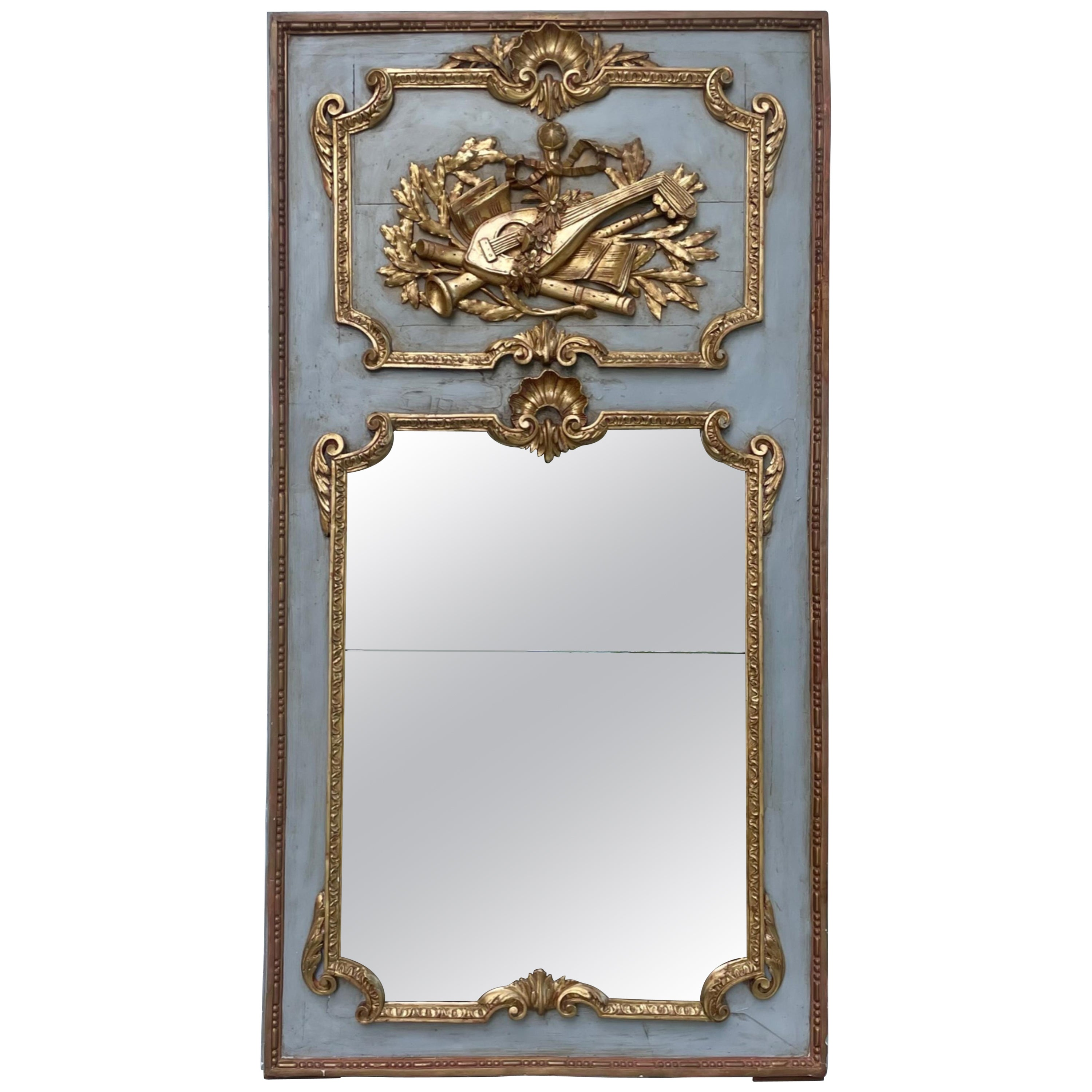 19th Century French Louis XV Stucco Carved and Gilded Trumeau Mirror