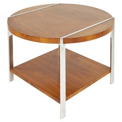Lane Mid Century Walnut and Chrome Side End Table
