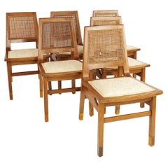 Founders Mid Century Walnut and Cane Dining Chairs, Set of 6