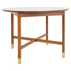 Founders Mid Century Walnut and Brass Expanding Dining Table with 1 Leaf