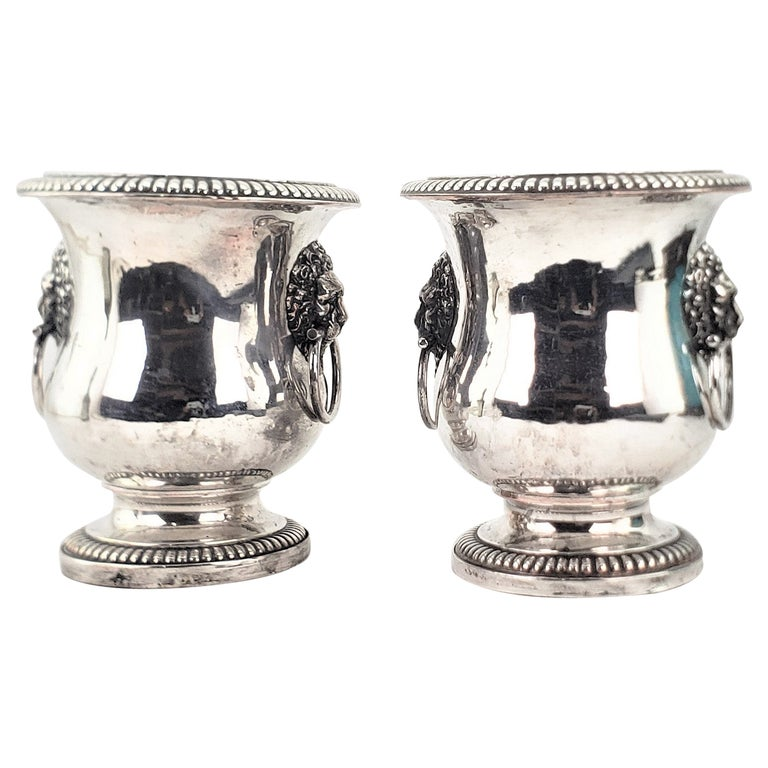 Pair of Antique Sheffield Plated Wine Coolers with Lion Handles & Rope Accents For Sale