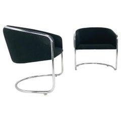 Pair of Black & Chrome Thonet Barrel Back Club Chairs