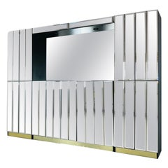 Hollywood Regency Mirrored Breakfront / Sideboard with Bar